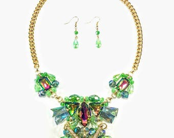 Irina - Gold & Green Statement Necklace and Earring Set