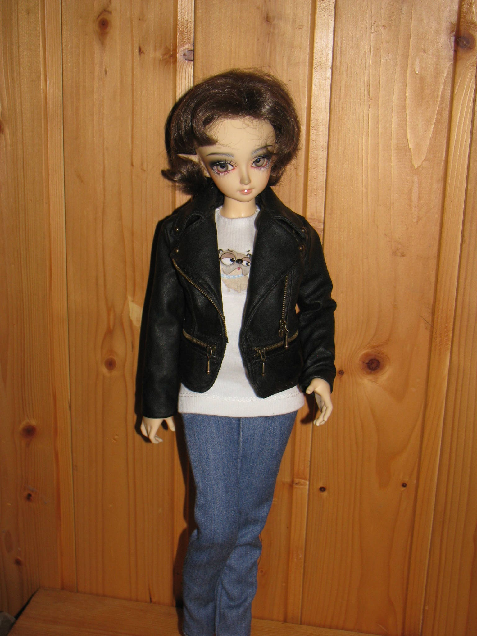 BJD Clothes Msd Leather Jacket For MiniFee Girl Fairyland 2 Size Bust Abody