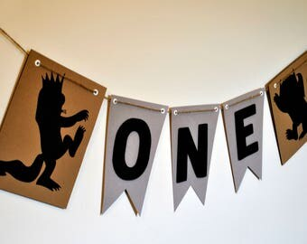 Where The Wild Things Are party supplies, Wild One banner, First Birthday banner, Where the Wild Things Are high chair banner, Wild Rumpus