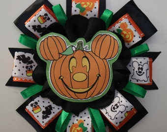 Gender Reveal Mickey & Minnie Mouse Pumpkin Halloween Themed Baby Shower Mommy to Be Corsage
