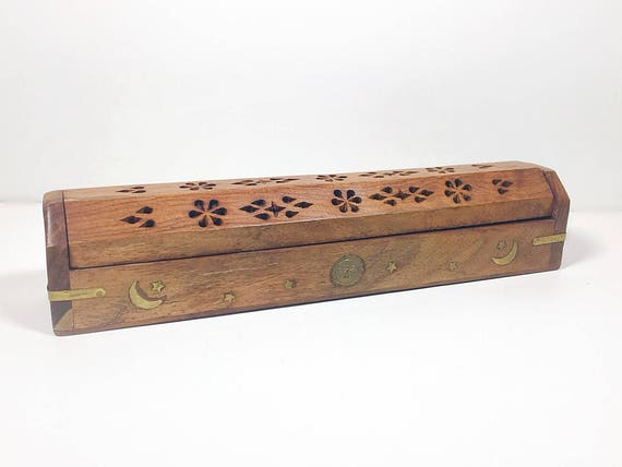 Like this item?  sc 1 st  Etsy & Vintage Long Carved Wood Incense Storage Box Hand Carved Box