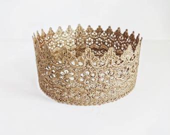Gold Lace Crown, Toddler Crown, Princess Crown,  Headpiece, Adult Birthday Crown, Halo Crown, Adult Crown, Cosplay Crown, Rose Gold, Glinda