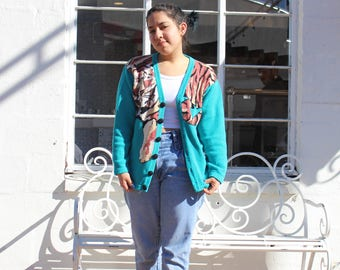 80's Teal & Tiger Sweater