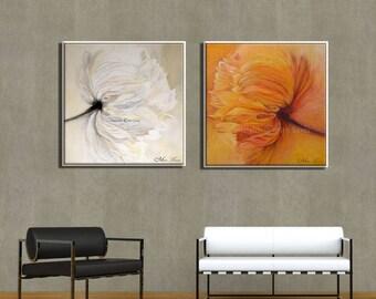 Wall Art Set, Flowers Canvas Art, Canvas Set Flowers Wall Print, Modern Art Print, Flowers Wall Art, Flowers Wall Decor, Large Wall Art
