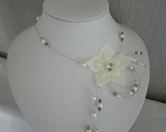 ivory beaded silk flower wedding bridal necklace brown / ivory / transparent bridesmaid holiday