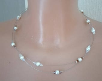 Bridal necklace holiday evening ivory beads / transparent / Brown wedding 2 rows
