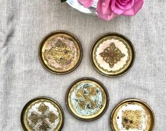 Vintage Florentine Coasters/set of five/Muted Pinks,Whites & Blue/drink trivets//Gifts/ornate barware/serving/drinks/homebar decor/italian