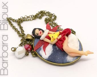 Doll Necklace-Christmas-fairy-handmade necklace-gift idea-polymer clay.