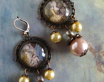 "Earrings Baroque ""Marquise"", Czech glass pink and yellow mother of Pearl, Cabochon ""Marquise"" copper Medallion"