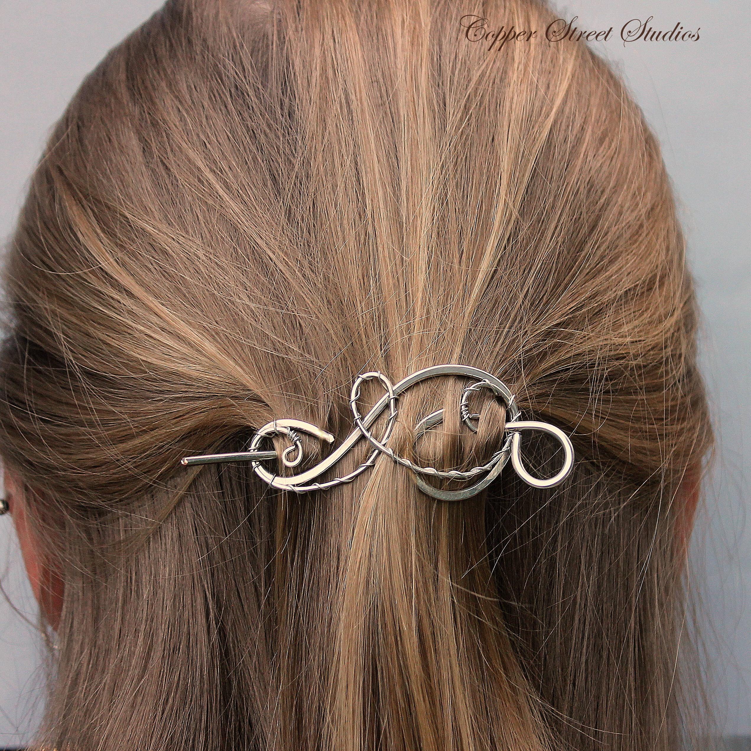 Silver Hair Clip Silver Shawl Pin Small Hair Barrette