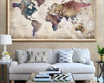 World map art etsy world map push pin world map wall art large world map world map gumiabroncs Image collections