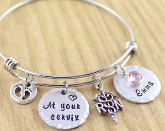 At Your Cervix Personalized RN Nurse Bracelet (Adjustable Bangle Bracelet) RN Jewelry • Labor and Delivery, OBGYN, Nicu, L&D • Hand Stamped