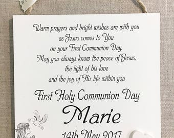 First Holy Communion Gift Personalised Boy Girl Plaque Wooden Card Sign W242