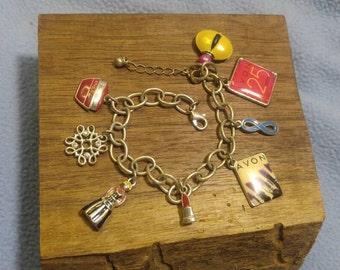 Vintage Silvertone Avon Lady Charm Bracelet