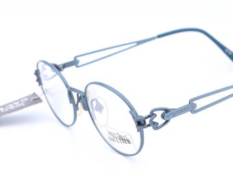 Jean Paul Gaultier 55 6112 vintage frame / blue  frame / luxury glasses / oval glasses / 90s eyeglasses / designer eyewear / made in Japn