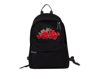School Backpack big rose patch black zipper stylish instagram fashion trip comfortable rockabilly rock'n'roll swag cool gift present