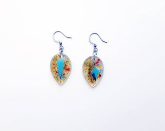 Drops earrings multicolor-resin-glass-geometric-recycled