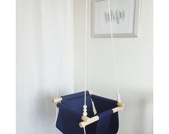 baby swing, navy swing, toddler swing, baby swing, indoor swing, outdoor swing, fabric swing, baby shower gift, holiday gift, nursery decor