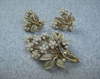 vintage jewelry set, signed CORO, white enameled, bead flowers, vintage jewelry set, earrings brooch pin, reclaimed vintage, 1950's