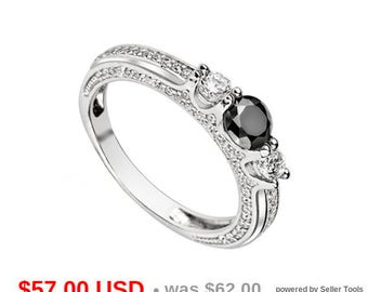 black engagement ring black promise ring for her black wedding ring 3 stone ring antique ring - Black Wedding Rings For Him And Her
