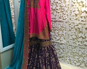 Pakistani Bridal- Pink and Purple Formal Gharara, Pakistani Wedding Formal Gharara