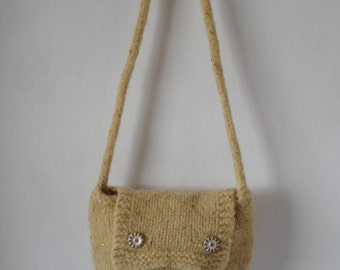 yellow sequin wool bag, felt bag, lined semi felted purse, summer shoulder bag, golden yellow purse, petite flap handbag, summer accessory