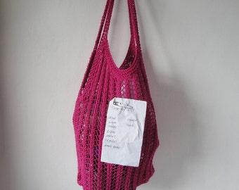 eco-friendly grocery bag, fuchsia 'string' bag, stretch market bag, cotton knit bag, vegan mesh bag, planet-saver shopper, pure cotton bag