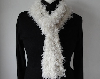 white skinny scarf, faux ostrich boa, vegan tippet, long thin scarf, winter white boa, faux feather scarf, feather effect boa, gift for her