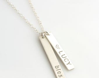 Sterling Vertical Bar Necklace, Gold Bar, Mom Necklaces with Kids Names, Gift for Mom, Gift for Grandma, Name Plate, LEILAJewelryShop, N211