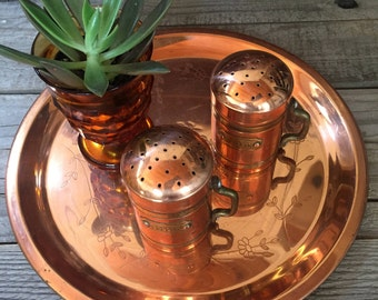 Vintage Copper platter with copper set of salt and pepper shaker's farmhouse decor brass accents retro primitive ranch style