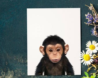 Chimpanzee print, Nursery animal print, PRINTABLE art, Safari animal nursery, Nursery decor, Baby animals, Nursery prints, Ape, monkey print
