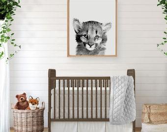Lion Art Decor, Cougar Print, Woodland Creatures, Forest Animals, Woodland Nursery Art, Lion Art, Woodland Wall Art, Baby Shower Gift
