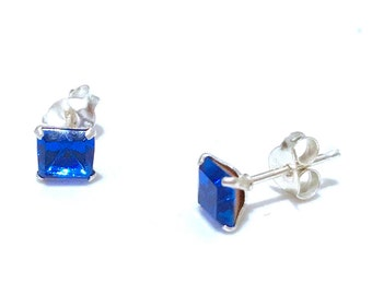 Sapphire Stud Earrings, Jewellery, Crystal Earrings, Sterling Earrings, Stud Earrings, Blue Earrings, Gift for her, Sapphire Studs