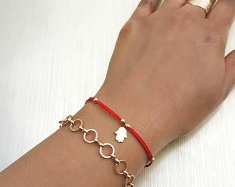 Red String Bracelet, Hamsa Bracelet, Gold Hamsa Bracelet, Red Kabbalah Bracelet, Red and Gold String Bracelet