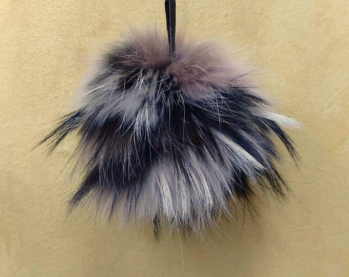 Fox Fur Pom Pom, Bag Pom Pom,Fur keychain F624