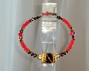 Red Tigers Eye Semi-Precious Gemstone Bracelet, Bangle, Chakra, Protection Stones, Gold Plated