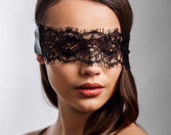 black audrey lace and satin eye mask wedding lingerie blindfold honeymoon gift valentines lingerie gift eyemask - Valentines Lingere