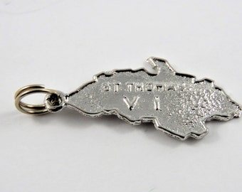 Outline of the Island of St. Thomas Virgin Islands Sterling Silver Charm or Pendant.