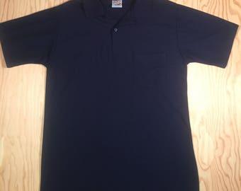 Vintage Campusport polo shirt   Navy Blue proper tennis golf shirt   1990s tight fit Size M