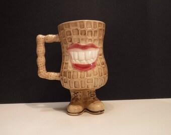 Peanut Mug, Jimmy Carter Campaign Peanut Mug, Peanut Cocoa Mug, Vintage 1970's President Jimmy Carter Smiling Peanut Cup, Peanut Cocoa Mug