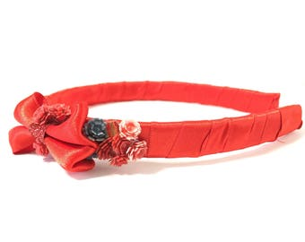 Snow White, headband, Disney princess, hair accessory, red, blue, satin, bow, Valentine's Day, birthday, gift, women, teens, girls