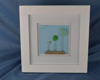 Bird scene seaglass art, 10in x 10in framed color seaglass, coastal decor, 3 birds, driftwood, beach house, coast, gift