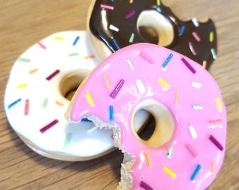 Large Chocolate, Vanilla, or Pink Rainbow Sprinkle Donut Fridge Magnet