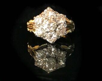 Vintage, 18ct, 18k, 750 Gold Diamond 1.80ct Daisy Cluster ring, Circa 1960