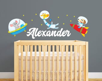 Personalized Name Wall Decal   Space Wall Decal   Animals In The Space  Themed Wall Art