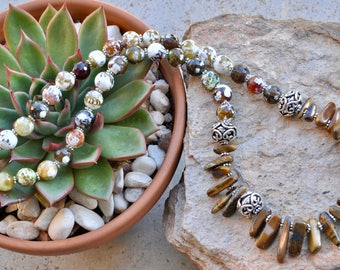 Ethnic necklace - brown necklace - conceptual necklace - statement neckpiece - gift for her - womens gift - womens fashion - gift idea