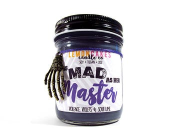 As Mad as her Master - Book Candle - Villain Candle - 8oz Soy Candle - LemonCakes Candle Co  - Violence, Violets, & Sour Lime