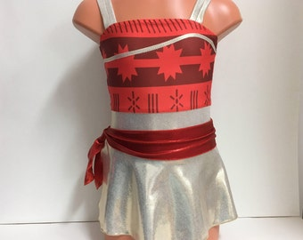 Moana Gymnastics or Dance Leotard with attached skirt - Sizes: 2T, 3T, Girls 4 - 10