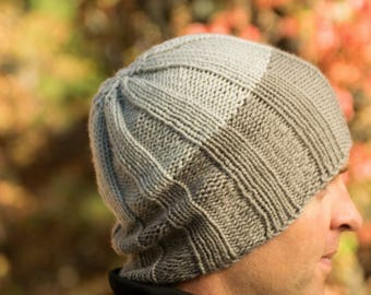 Grey Knit Beanie - Two Toned Ribbed Knit Winter Hat - Acrylic Handmade Hat in Dark & Light Gray - Monotone Non Wool Beanie