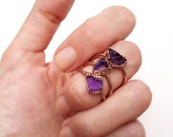 Raw Amethyst Ring, Raw Birthstone Ring, Raw Purple Stone Ring, Raw Amethyst, Amethyst Copper Ring, February Birthstone, Raw Stone Ring,